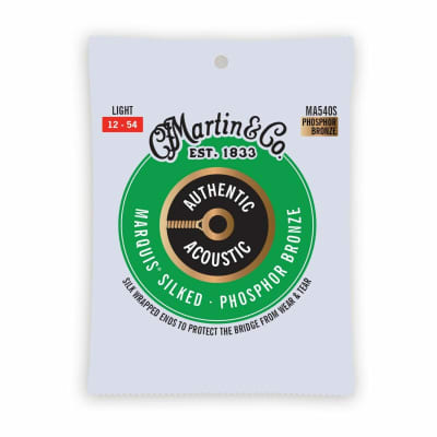 Martin MA540S Authentic Acoustic Marquis Silked Phosphor Bronze Acoustic Guitar Strings, Light 12-54