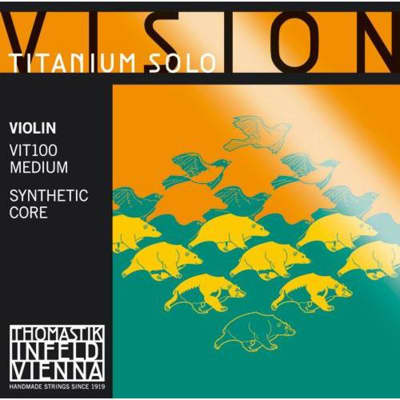 Thomastik-InfeldVIT100 Vision Titanium Solo Synthetic Core 4/4 Violin String Set - (Medium)
