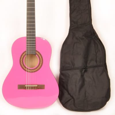 Omega 3/4 Size (36 1/2 inch) Nylon String Classical Acoustic Guitar Package Metallic Pink for sale