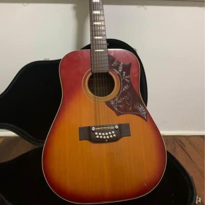 Terada 'Hummingbird' 12 String Acoustic Guitar 1970s Sunburst for sale