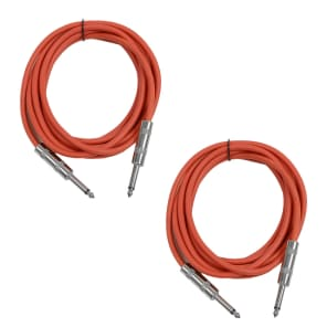 """Seismic Audio SASTSX-10-REDRED 1/4"""" TS Male to 1/4"""" TS Male Patch Cables - 10' (2-Pack)"""