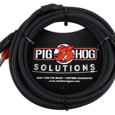 Pig Hog PB-S3410 10ft Stereo Breakout Cable 3.5 MM to Dual 1/4 TS