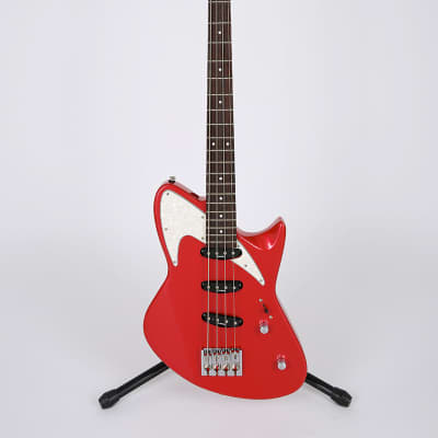 Retronix R800B 4 String Electric Bass SSS Single Cut Away Unique Shape Fiesta Red for sale