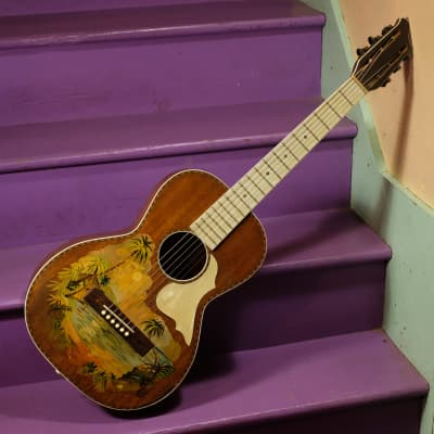 1920s Stromberg-Voisinet/Kay-made Hawaiian-decal Mahogany Parlor Guitar w/HSC for sale
