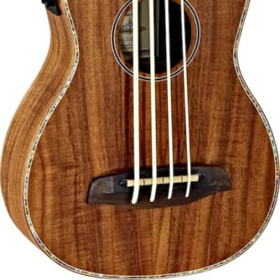 Ortega Guitars CAIMAN-GBFL-GB Lizard Series Fretless Ukulele-Bass Acacia top, back & sides Gloss Finish with Free Deluxe Gig Bag & Built-in Electronics & Tuner for sale