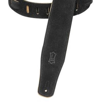 Levys MS26BLK 2.5 Inch Suede Guitar Strap with Suede Backing Black