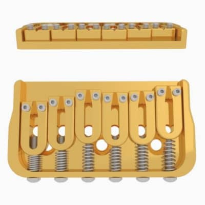 Hipshot 6 String Fixed Guitar Bridge Gold
