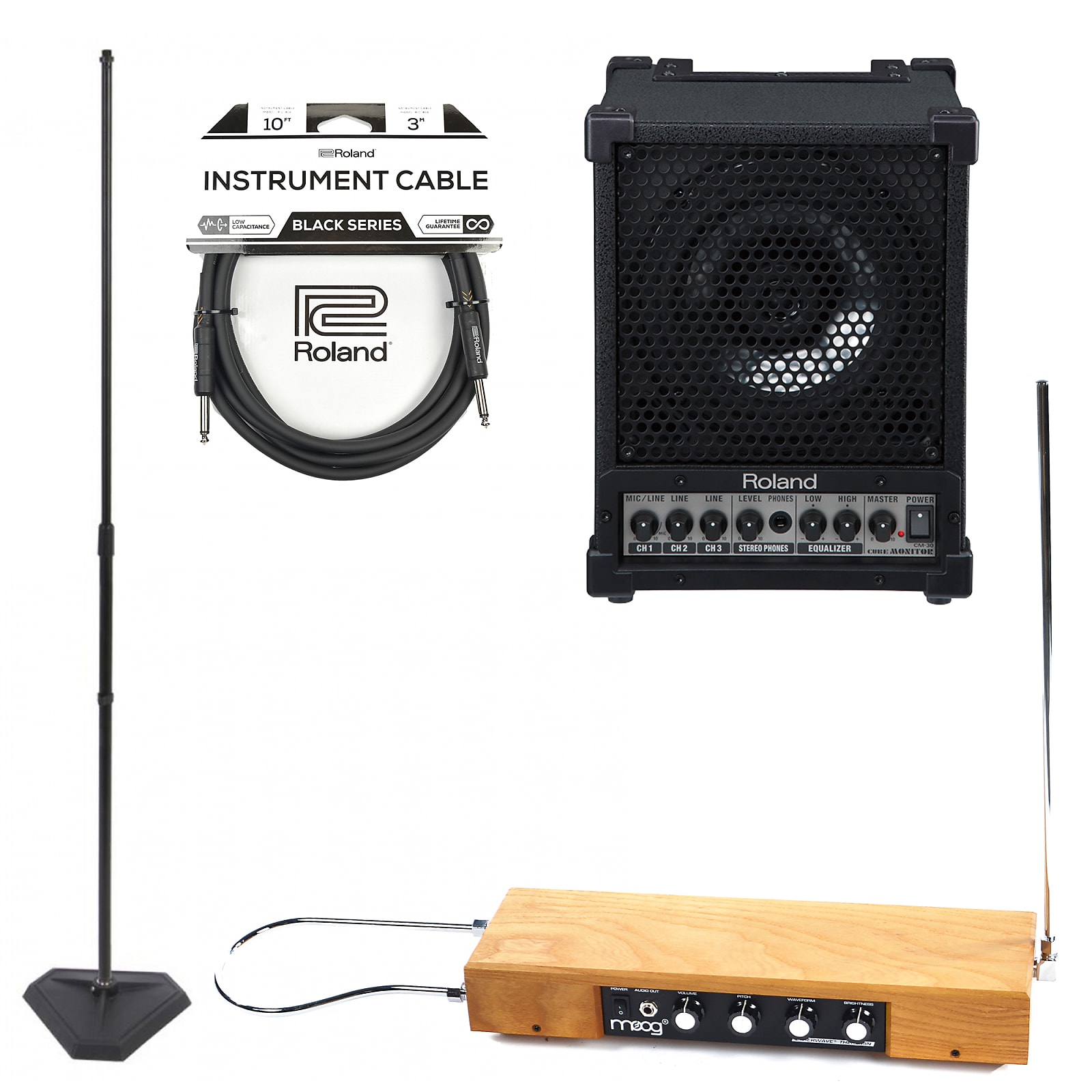 Moog Etherwave Standard Theremin Ash and Roland Cube 30w Monitor w/Mic  Stand, RH-5 Headphones and Instrument Cable Bundle