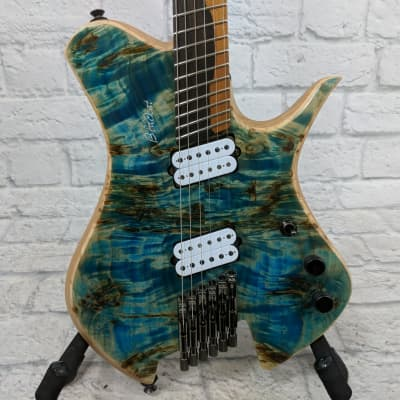 Blackat HSA Poplar Burl Trans Blue over 3pc Black Limba 6 String Electric Guitar for sale