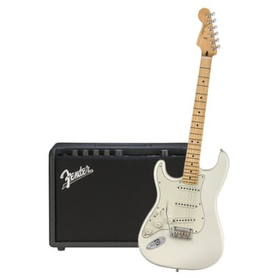 Fender Player Stratocaster Left Hand Polar White Maple Neck & Fender Mustang GT 40 Bundle for sale