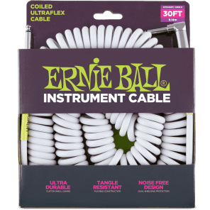 Ernie Ball P06045 Ultraflex Coiled 25' Straight to Angled TS Instrument Cable