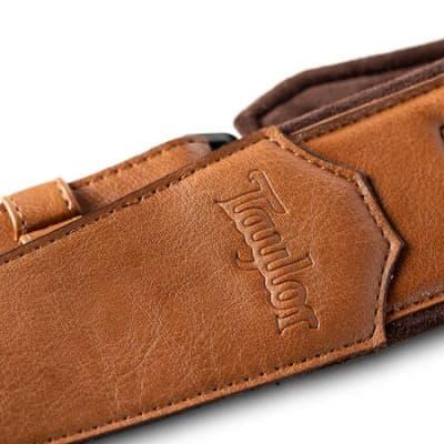 "Taylor Strap, Vegan Leather, Tan with Natural Textile Trim , 2.5"""
