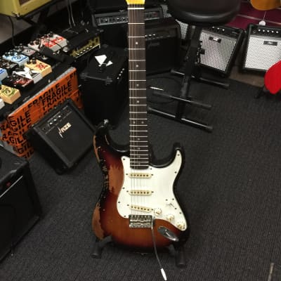 Haze Relic ST  3-Tone Sunburst Electric Guitar Cream Pickups & Knobs,Aged Chrome Hardware+Free Bag for sale