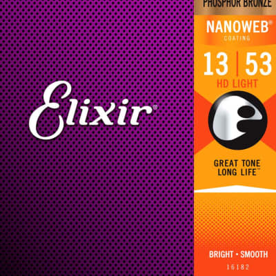Elixir Nanoweb Coated Phosphor Bronze Acoustic Guitar Strings - HD Light 13-53