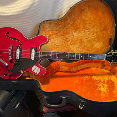 leban semi acoustic electric guitar 70's cherry red for sale