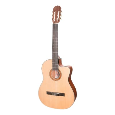Martinez 'Natural Series' Spruce Top Acoustic-Electric Classical Cutaway Guitar (Open Pore) for sale