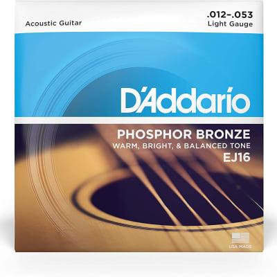 D'Addario Phosphor Bronze Acoustic Guitar Strings - EJ16 Light 12-53