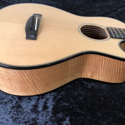 New model Terry Pack  PLBS parlour guitar, custom order, solid book-matched Banglang, Sitka, Ebony, for sale