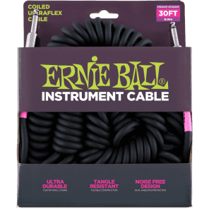 Ernie Ball P06044 Ultraflex Coiled 25' Straight to Straight TS Instrument Cable