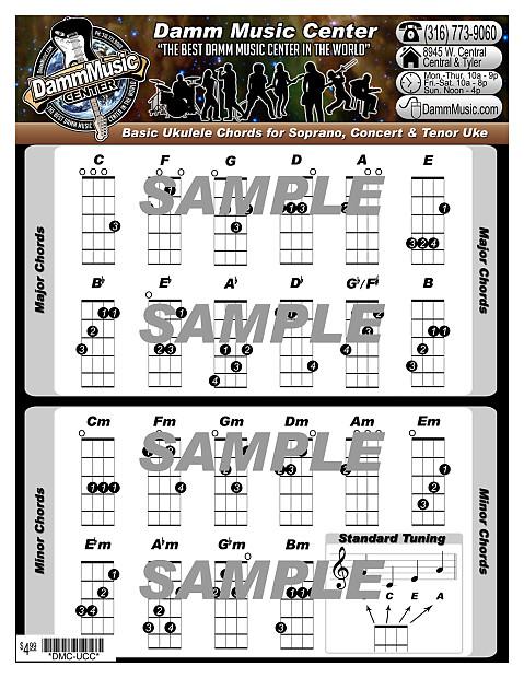 Damm Music Center Chord Chart For Ukulele Damm Music Reverb