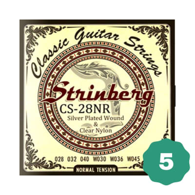 New Strinberg CS-28NR Silver Plated Wound Clear Nylon 6-String Classical Guitar Strings (5-PACK)