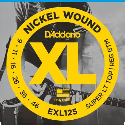 D'Addario EXL125 Nickel Wound Electric Guitar Strings, Super Light Top / Regular Bottom Gauge