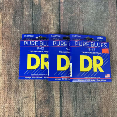 DR Strings PHR-9 Pure Blue 9-42 Gauge Electric Guitar Strings- 3 Packs