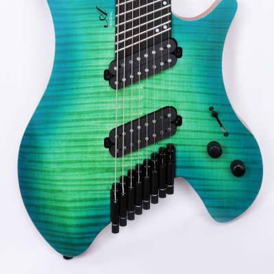 Agile Headless 8 String Multi Scale Fan Fret Electric Guitar GEODESIC 82528 Green Blue Burst