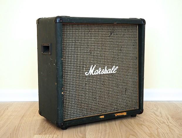 1986 Marshall 1965B Lead 4x10 Straight Speaker Cab Green | Reverb