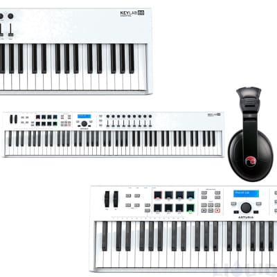 ARTURIA KEYLAB 88 Essential Semi-Weighted Keyboard MIDI Controller White + Resident Headphone Bundle