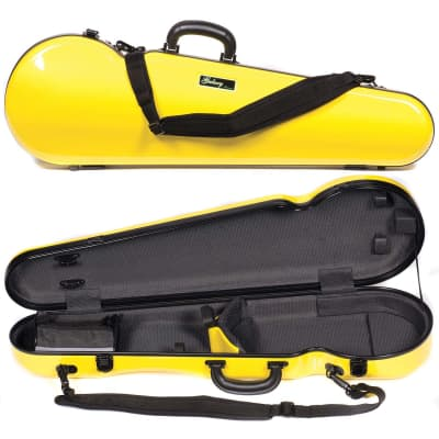 Galaxy Audio Galaxy Comet 300SL Shaped Yellow Violin Case with Gray interior for sale