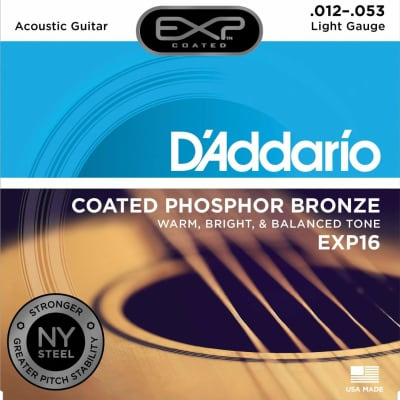D'Addario EXP16 Coated Phosphor Bronze Light Acoustic Guitar Strings, .012 - .053