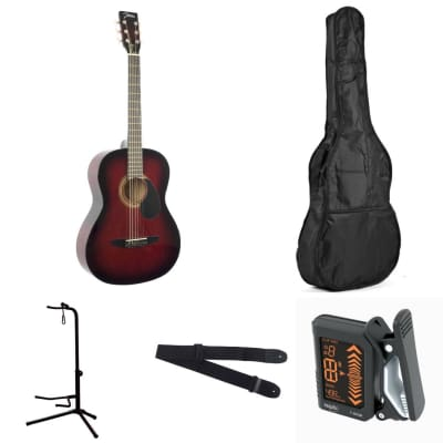 Johnson JG-100 Red Acoustic Dreadnought Guitar Pack w/ bag, stand, tuner, & strap