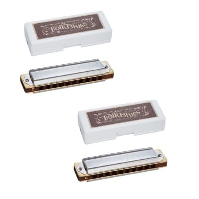Tombo Folk Blues Mk II Harmonica 2-Pack Keys Low F and High G  Made in Japan