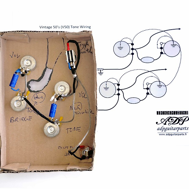 Kit Control Electro ADP cable ES335 Vintage 50s Wiring harness Gibson on