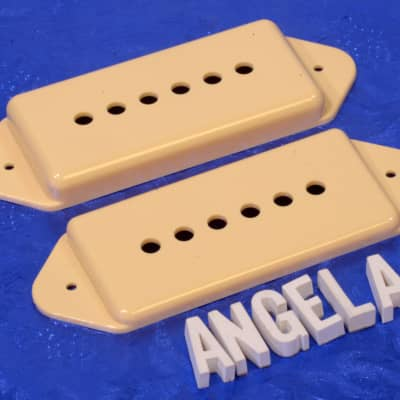 Lindy Fralin Cream Short And Tall Dog Ear P90 Pickup Cover Set For Hollow Body  Guitars