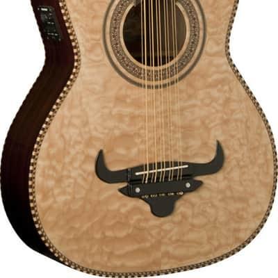 Oscar Schmidt BAJO QUINTO A/E Guitar, Burled Maple Top, Gig Bag, OH32SEQN