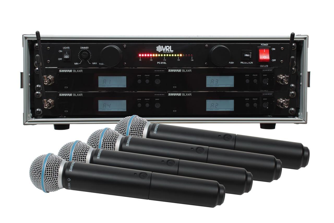 shure blx24r b58 4 pack wireless handheld mic system with vrl reverb. Black Bedroom Furniture Sets. Home Design Ideas