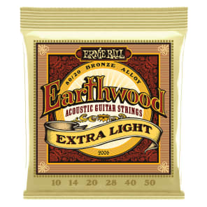 Ernie Ball 2006 Earthwood 80/20 Bronze Extra Light Acoustic Guitar Strings, .010 - .050