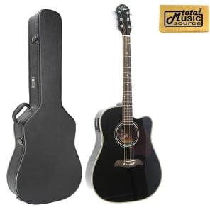 fbead14aa5b Oscar Schmidt Acoustic/Electric Guitar, Black, W/Hard Case OG2CEB CASE
