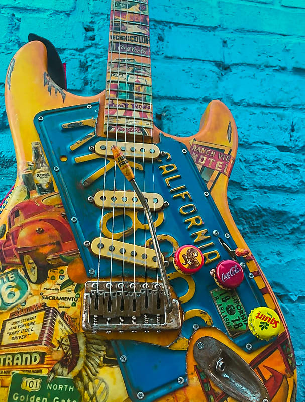 Made in USA AMERICAN FENDER STRATOCASTER  ARTWORK ON LICENSE PLATE