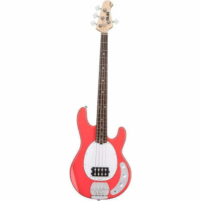 Sterling By Music Man Sub RAY4 Fiesta Red Bass Guitar for sale