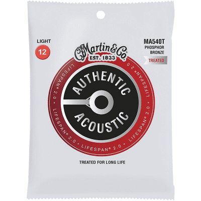 Martin Martin MA540T Lifespan 2.0 Phosphor Bronze Light Authentic Acoustic Guitar Strings (12-54) for sale
