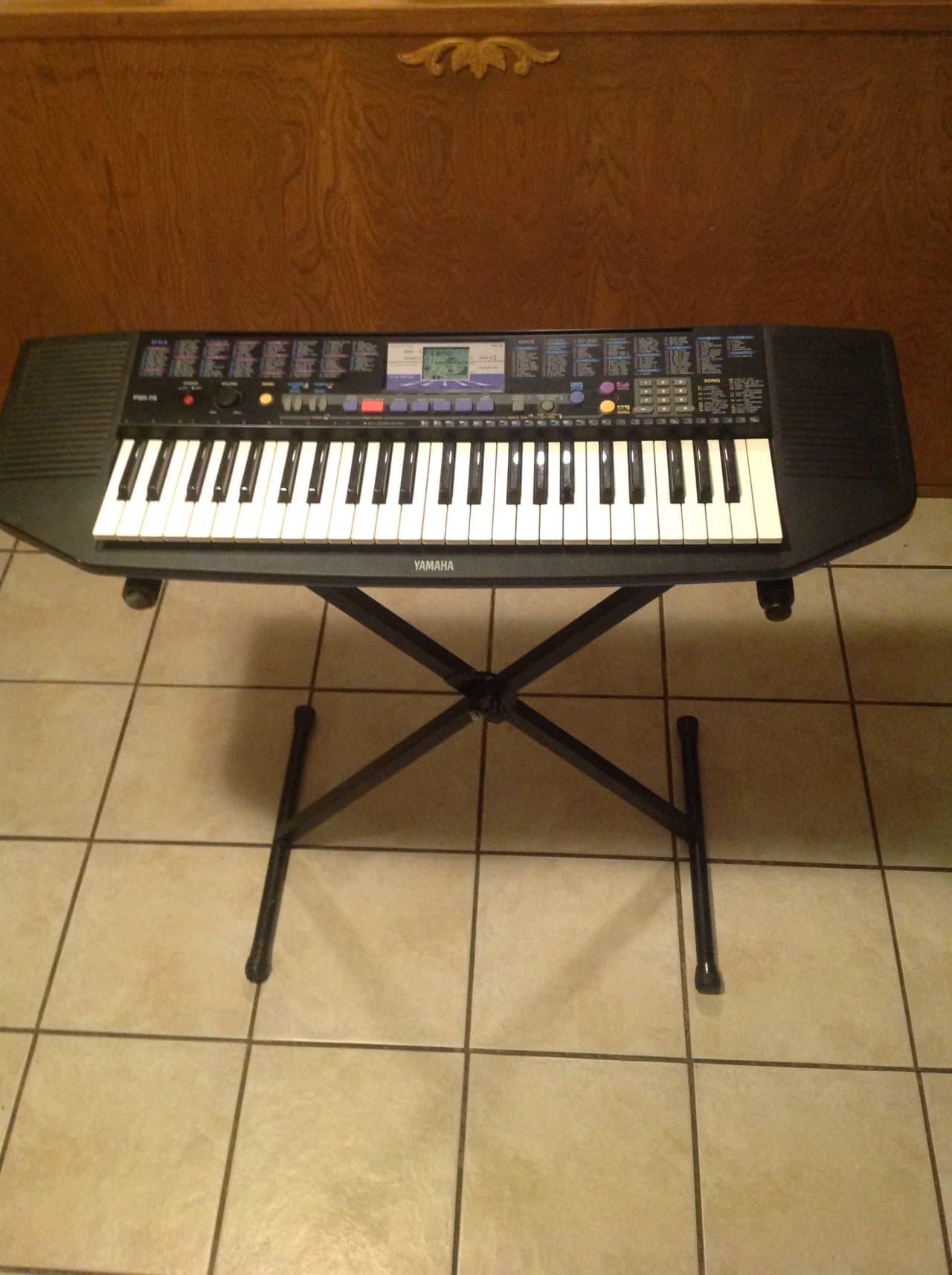 Yamaha psr 78 keyboard w stand black blue reverb for Yamaha psr stand