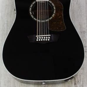 Washburn Heritage 10 12 String Dreadnought Cutaway Acoustic-Electric Guitar Black not takamine