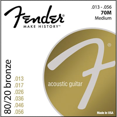 Fender 70M 80/20 Bronze Acoustic Guitar Strings Set - MEDIUM 13-56 for sale