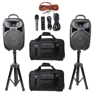 """Rockville RPG082K Dual 8"""" Portable PA System w/Bluetooth+Mic+Stands+Cables+Bags"""