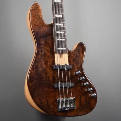 Elrick Standard Handmade New Jazz Standard 4-String Bass Guitar, Clear Gloss Finish/Burl Walnut Top for sale