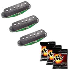 Fishman PRF-STR-BK3 Pickups for Strat (Set of 3) in Black with 3 Sets of GHS Strings