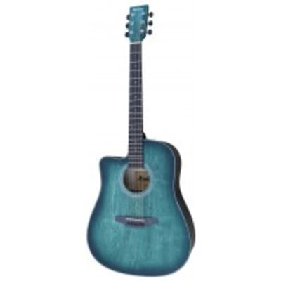 Madera OP411C/BL  -  Hand-Rubbed Body Finish, Left-Handed Cutaway Dreadnaught, Aquatica-Blue for sale